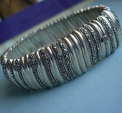 "Sterling Silver Bracelet w Marcasite 925 Bangle Wide Heavy Omega  8"" & 47.2g"