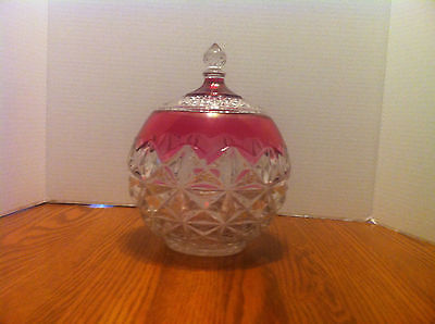Indiana Glass Kings Crown Ruby Red Flash Diamond Point Covered Jar Candy Dish