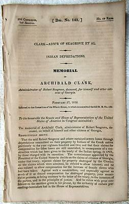 1832 GEORGIA Creek Indians Depredations Destroyed Property Claims Appeals