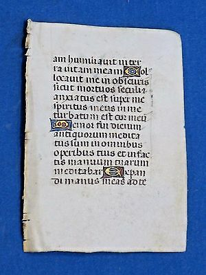 Miniature Medieval Manuscript Leaf,Book of Hours,Latin,Vellum,Gold Initia.c.1460