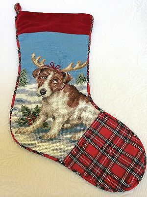 Jack Russell Terrier Dog Needlepoint Wool & Plaid Christmas Stocking