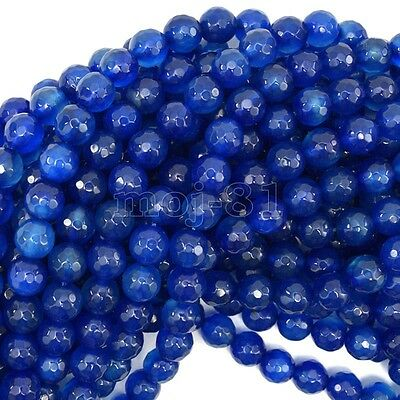 "8mm Genuine Natural Faceted Blue Agate Round Gemstone Loose Beads 15"" AAA"