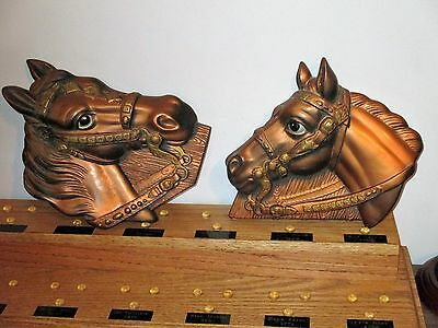 1964 Chalkware Horse Head Wall Plaques Miller Studios Country Western Man Cave