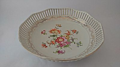 Unmarked German Reticulated Bowl With Floral Bouquet Center