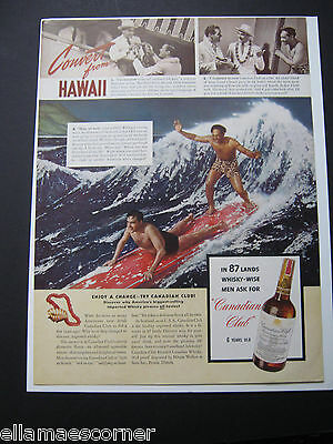 1940 Canadian Club Whiskey Hawaii Surfing Original Print Ad