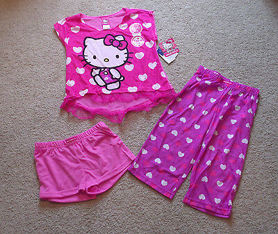 Hello Kitty 3-Pc Pajama/Sleep/PJ Set-Pink/PurpleHeart-Capris/Shorts-Sz 4/6/8-New