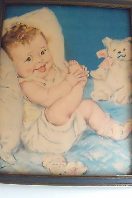 """16"""" x 20"""" Vintage Framed Print of an Adorable Baby NOT Signed"""