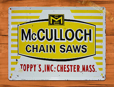 "TIN SIGN ""McCulloch Chain Saws""  Rustic Garage Tool Wall Decor"