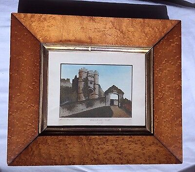 Antique 19th C Alum Bay Isle Wight Sand Picture / Painting of Carisbrooke Castle