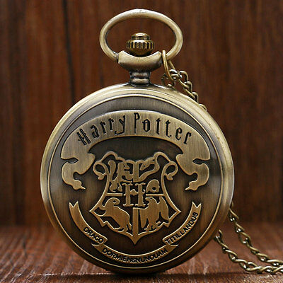 Antique Style Harry Potter Hermione Hogwarts School Logo Pocket Watch Necklace