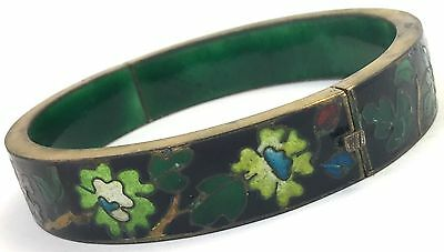 Vintage Cloisonne Enamel Flower Metal Bangle Bracelet Chinese Export Jewelry