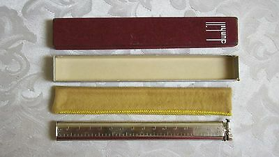 Nice Vintage Dunhill Sylph Lift Arm 6 Inch Ruler Silver Plated + Box & Bag