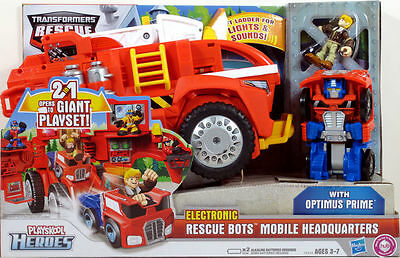 NEW  Transformers Rescue Bots Playskool Heroes Optimus Prime Mobile Headquarters