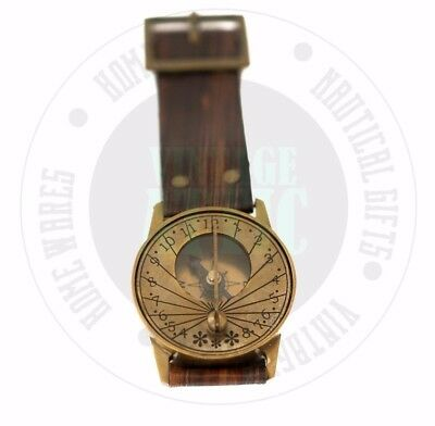New Vintage Solid Brass Nautical Wrist Watch with Compass