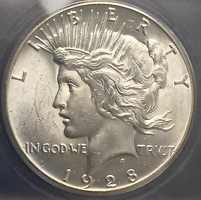 1928 P Peace Silver Dollar Icg Ms 63 Key Date White Coin Fantastic Luster