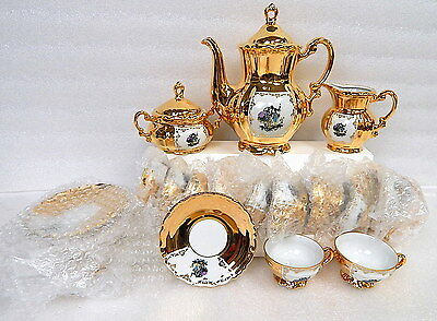 27pc Vintage Mitterteich Bavaria China Germany 22k Gold Tea Coffee Serving Set