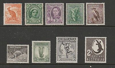"1948-52 Kgvi No Watermark Definitives Complete Set Of ""9"" Mint Unhinged Fresh"