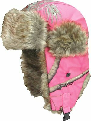 Realtree Bright Pink Camo Bomber Trapper Hat - Hunting, Faux Fur, Youth, Kids