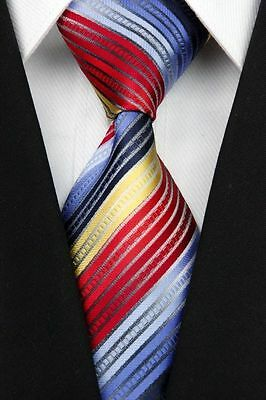 Yellow, Red, And Blue Striped Classic 100% Silk Men's Necktie B255