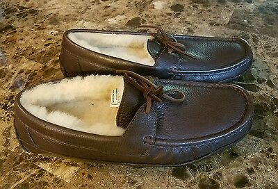 Ugg Australia Size 9 BYRON Brown Leather Slippers Loafers Mens Shoes SN 5161 NEW