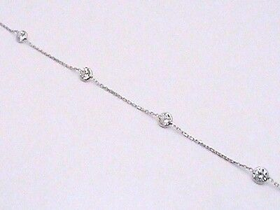 14K White Gold .925 Italy Created Diamond by the Yard Anklet Ankle Bracelet 10""