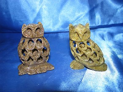 Pair OF DECORATIVE HAND MADE SOAP STONE OWL FIGURINES  collectibles birds