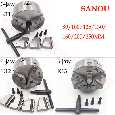 Lathe Chuck 3Jaw 4Jaw 6Jaw Self-Centering Plain Back Hardened Steel Metal Parts