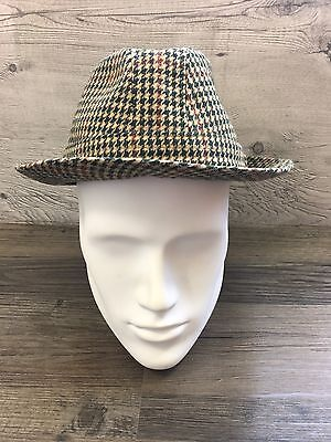 Men's Tweed Trilby Fedora Style Hat Size 60cm 7.3/8 XL Extra Large