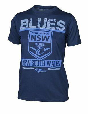 New South Wales Blues State Of Origin True Blue Blues T Shirt Kids Sizes 8-14!