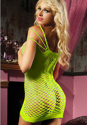 Yellow Fishnet Dress Lingerie Bodysuit Bodystocking One Size Fits Most