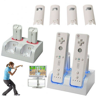 Dual Charger Dock For Nintendo Wii Controller + 4 Rechargeable Battery Pack