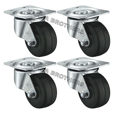 """Hakka 4 Pack Caster Wheels Rubber Base with Top Plate & Bearing 440LB 2""""Swivel"""