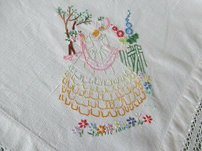 Vintage Tablecloth Hand Embroidered With Crinoline Ladies