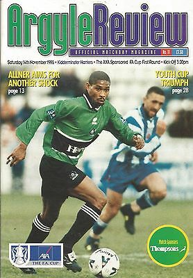 Football Programme Plymouth Argyle v Kidderminster Harriers  FA Cup - 14/11/1998