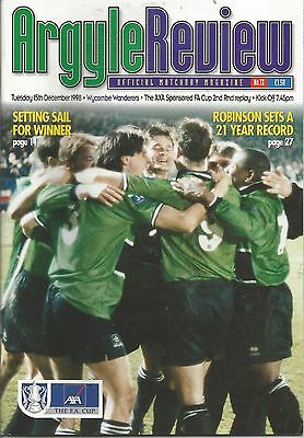 Football Programme Plymouth Argyle v Wycombe Wanderers  FA Cup Replay 15/12/1998
