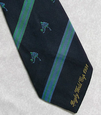 VINTAGE RUGBY TIE NAVY 1991 WORLD CUP 1990s RETRO SPORT COLLECTABLE JOHN GOULD