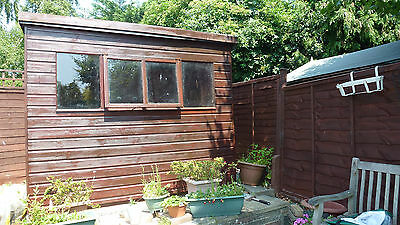 GARDEN SHED SOLID APPROX 8X6  PENT ROOF 2 opening windows