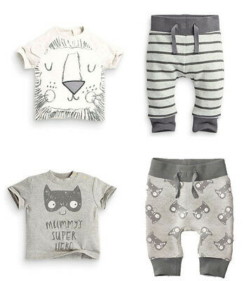 2ps Newborn Toddler Kids Baby Boy T-shirt Tops+Pants Cotton Clothes Outfits Set{