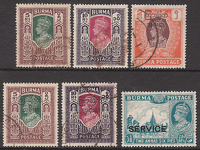 Burma 1939 #021 Service Official 1946 #62 #63 1947 Top 3 Used Gv1 Stamp