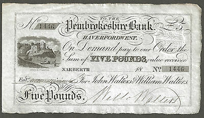 Pembrokeshire Bank, Haverfordwest, Narberth Branch Five Pound Note, Outing 915b