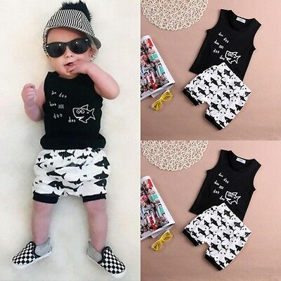 Newborn Infant Kids Baby Boys Summer Outfits Shark Tops T-shirt +Shorts Clothes{