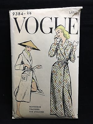 Vintage c 1940s 1950s VOGUE MAGAZINE SEWING PATTERN DRESSING GOWN 9384 2/6 Large