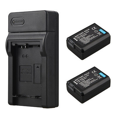 2Pcs NP-FW50 Li-Ion Battery + USB Charger For Sony Alpha 7R a7R 7S NEX-5N 5C A55
