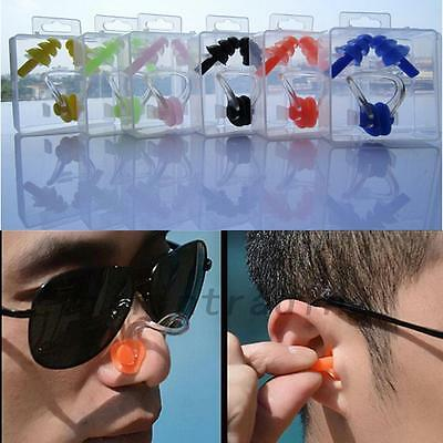 New Nose Clip Ear Plug Waterproof Silicone Water Pool Sea Swimming Set 1 Pair