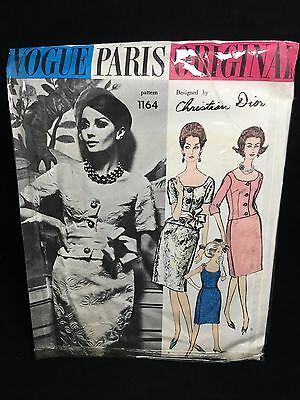 CHRISTIAN DIOR VOGUE PARIS ORIGINAL Sewing PATTERN 1164 1 Piece Dress & Jacket