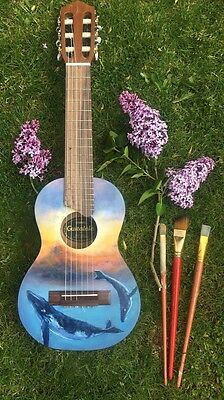 Painted guitalele, Including Black Case.
