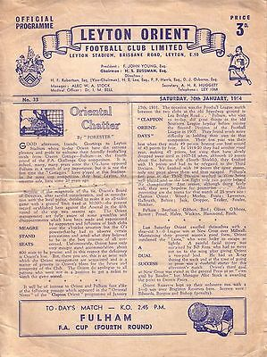 LEYTON ORIENT v FULHAM 1953/54 FA CUP 4TH ROUND