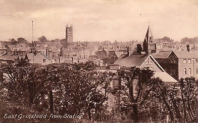 Vintage Postcard  East Grinstead Town View Roof Tops From Station