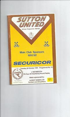 Sutton United v Weymouth FA Cup Replay Football Programme 1991/92