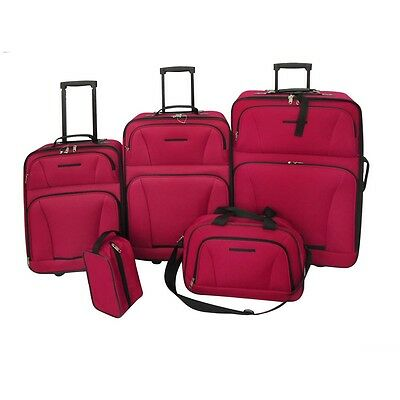 S# New 5pcs 2 Wheeled Luggage Set Red Travel Carry On Bag Trolley Upright Suitca